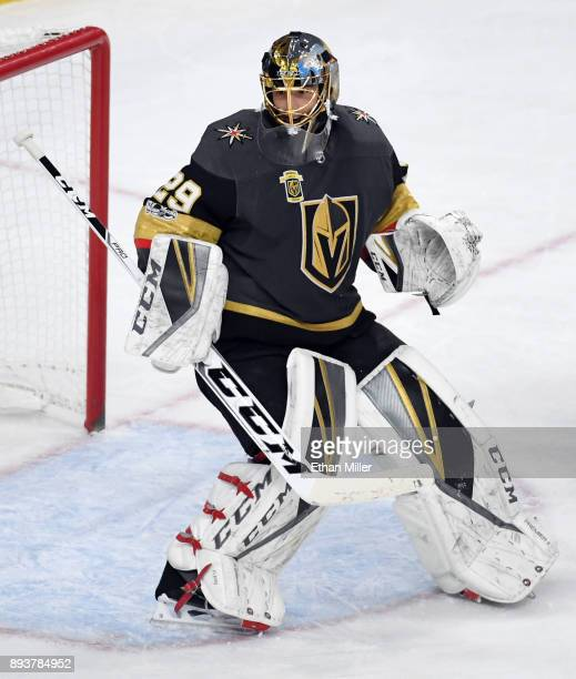 MarcAndre Fleury of the Vegas Golden Knights tends net against the Pittsburgh Penguins at TMobile Arena on December 14 2017 in Las Vegas Nevada The...