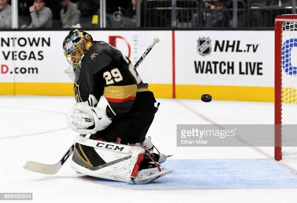 MarcAndre Fleury of the Vegas Golden Knights tends net as a San Jose Sharks shot sails wide of the goal during the third period of a preseason game...