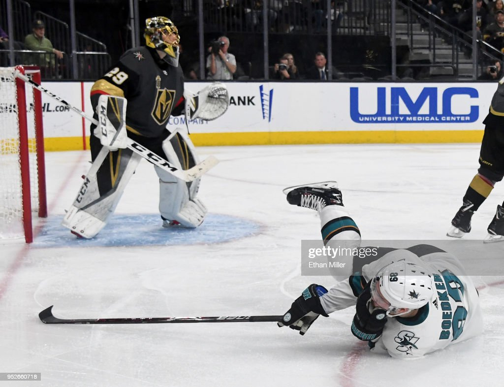 Marc-Andre Fleury #29 of the Vegas Golden Knights tends net as Mikkel Boedker #89 of the San Jose Sharks reacts after Shea Theodore (not pictured) #27 of the Vegas Golden Knights hit him in the face with his stick in the second overtime period of Game Two of the Western Conference Second Round during the 2018 NHL Stanley Cup Playoffs at T-Mobile Arena on April 28, 2018 in Las Vegas, Nevada. Theodore received a two-minute minor penalty for high sticking on the play. The Sharks won 4-3 in double overtime.