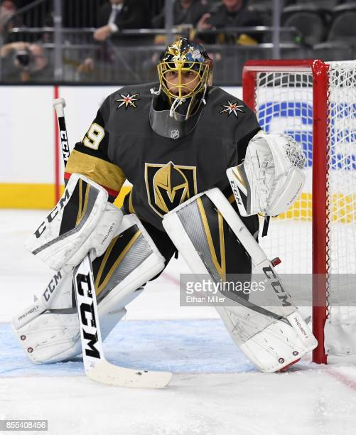 MarcAndre Fleury of the Vegas Golden Knights tends net during a preseason game against the Colorado Avalanche at TMobile Arena on September 28 2017...