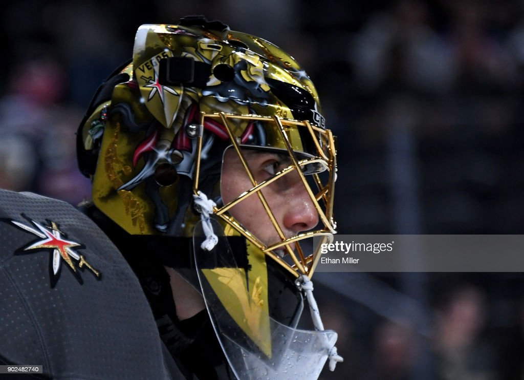Marc-Andre Fleury #29 of the Vegas Golden Knights warms up before a game against the New York Rangers at T-Mobile Arena on January 7, 2018 in Las Vegas, Nevada. The Golden Knights won 2-1.