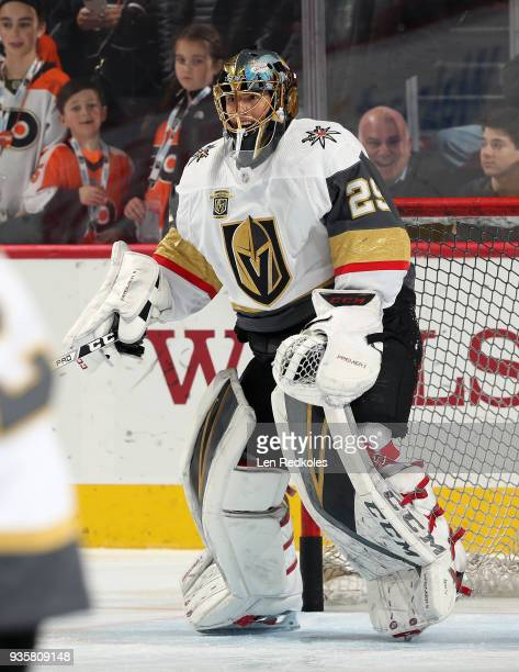 MarcAndre Fleury of the Vegas Golden Knights warms up prior to his game against the Philadelphia Flyers on March 12 2018 at the Wells Fargo Center in...