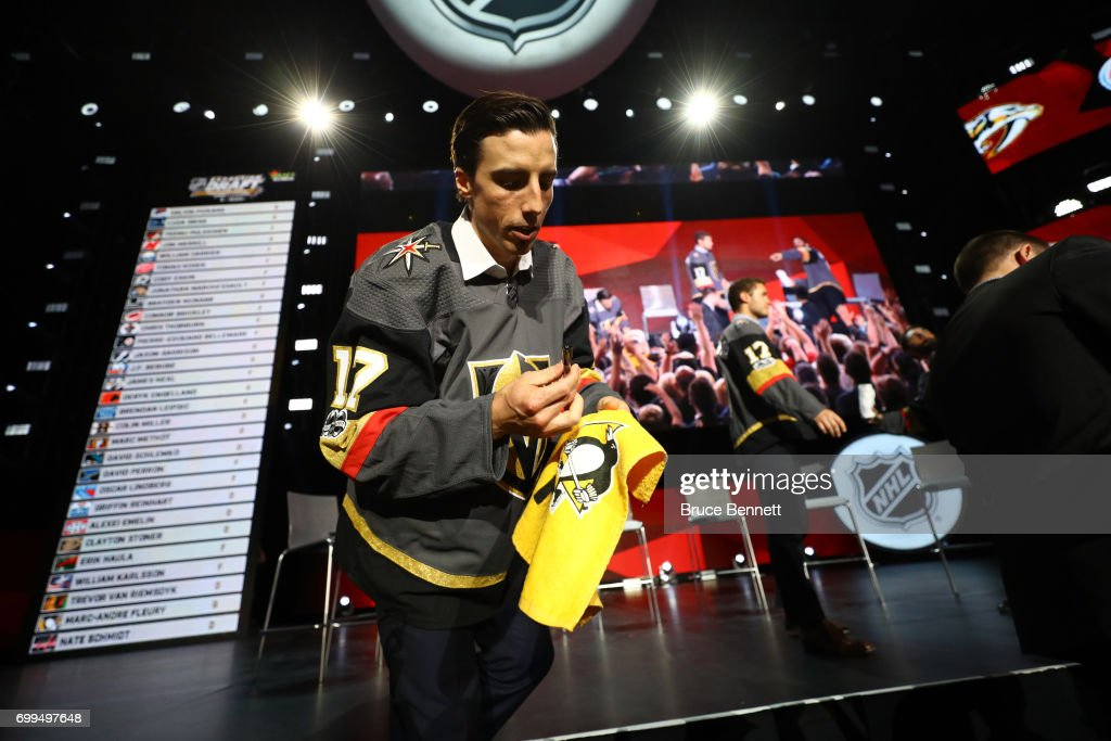 Marc-Andre Fleury signs an autograph after being selected by the Vegas Golden Knights during the 2017 NHL Awards and Expansion Draft at T-Mobile Arena on June 21, 2017 in Las Vegas, Nevada.