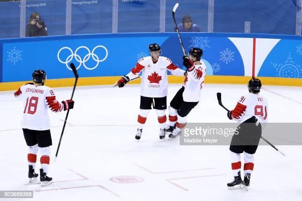 Marc-Andre Gragnani, Mat Robinson, Mason Raymond and Linden Vey of Canada celebrate after a goal in the first period against Czech Republic during...