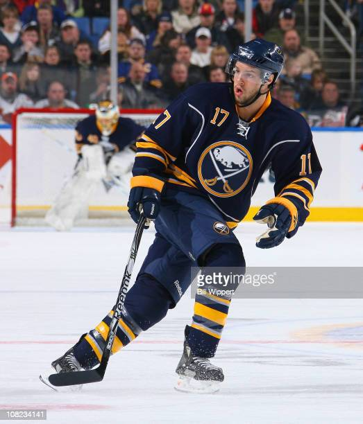 Marc-Andre Gragnani of the Buffalo Sabres skates against the New York Islanders at HSBC Arena on January 21, 2011 in Buffalo, New York.