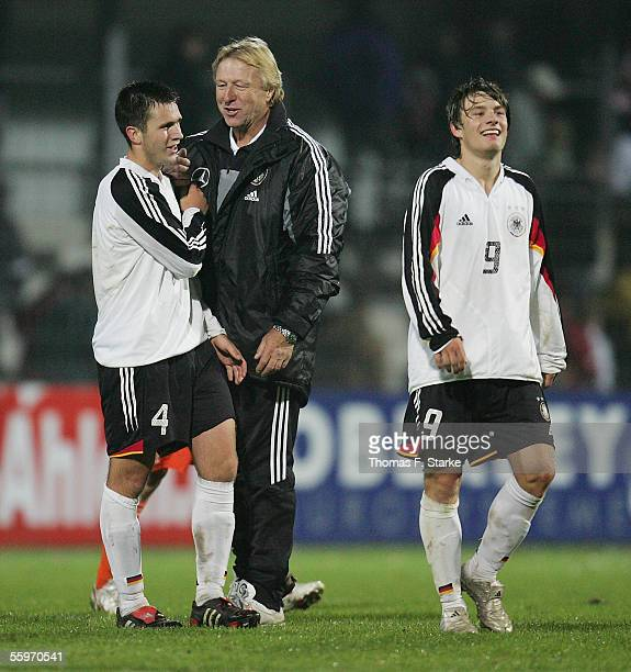 MarcAndre Kruska Coach Horst Hrubesch and Daniel Halfar of Germany after the UEFA Under 19 European Championship qualifier match between Germany and...