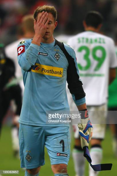 MarcAndre ter Ste genof Moenchengladbach looks dejected aftewr losing 01 after extra time the DFB Cup second round match between Fortuna Duesseldorf...