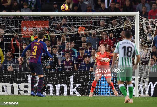 MarcAndre Ter Stegan of Barcelona fails to make a save and Real Betis score their third goal during the La Liga match between FC Barcelona and Real...