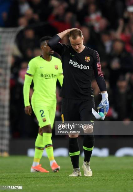 MarcAndre Ter Stegan of Barcelona reacts in defeat the UEFA Champions League Semi Final second leg match between Liverpool and Barcelona at Anfield...