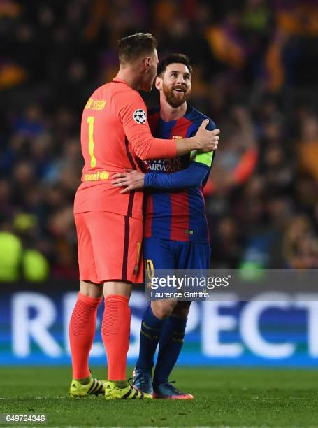 MarcAndre ter Stegen and Lionel Messi of Barcelona celebrate victory after the UEFA Champions League Round of 16 second leg match between FC...