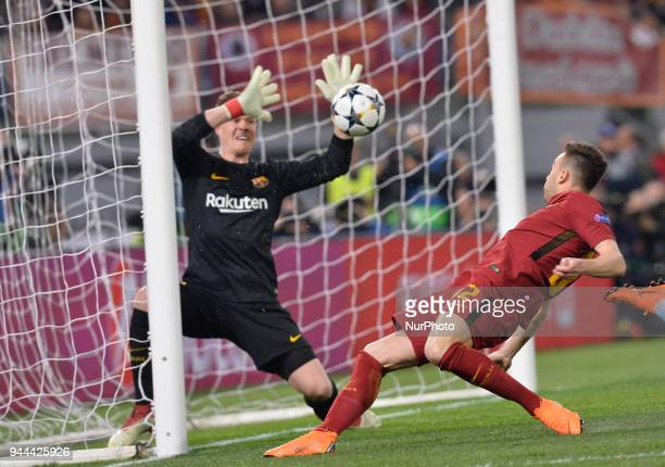 MarcAndre ter Stegen and Stephan El Shaarawy during the UEFA Champions League quarter final match between AS Roma and FC Barcelona at the Olympic...