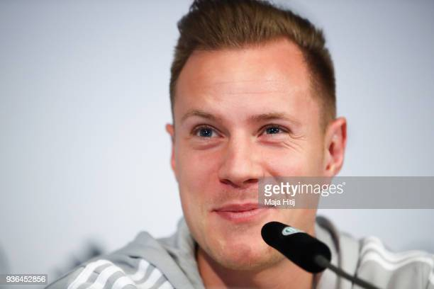 MarcAndre ter Stegen attends a Germany press conference ahead of their international friendly match against Spain at Hilton Hotel on March 22 2018 in...