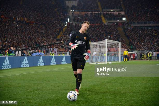 MarcAndre ter Stegen during the UEFA Champions League quarter final match between AS Roma and FC Barcelona at the Olympic stadium on April 10 2018 in...