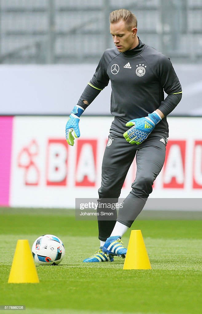 Marc-Andre Ter Stegen, goalkeeper of Germany participates in the training session ahead of the international friendly match between Germany and Italy at Allianz Arena on March 28, 2016 in Munich, Germany.