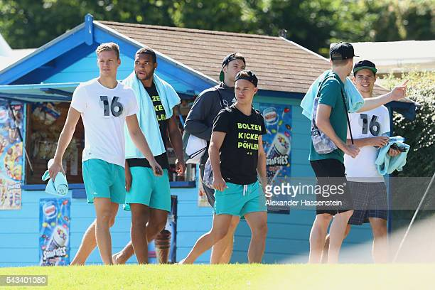 MarcAndre ter Stegen Jonathan Tah Manuel Neuer Joshua Kimmich Andre Schuerrle and Julian Weigl of team Germany visit the public Evian swimming pool...