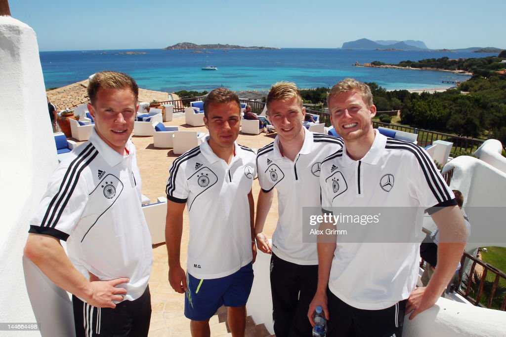 Marc-Andre ter Stegen, Mario Goetze, Marco Reus and Andre Schuerrle (L-R) pose during the Germany media day at the team's hotel 'Romazzino' on May 17, 2012 in Porto Cervo, Italy.