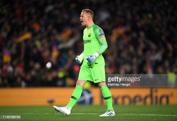 MarcAndre Ter Stegen of Barcelona celebrates his sides first goal during the UEFA Champions League Quarter Final second leg match between FC...