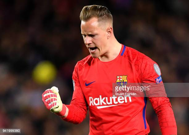 MarcAndre ter Stegen of Barcelona celebrates his sides first goal during the UEFA Champions League Quarter Final Leg One match between FC Barcelona...