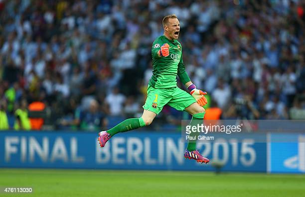 Marc-Andre ter Stegen of Barcelona celebrates the goal scored by Ivan Rakitic during the UEFA Champions League Final between Juventus and FC...