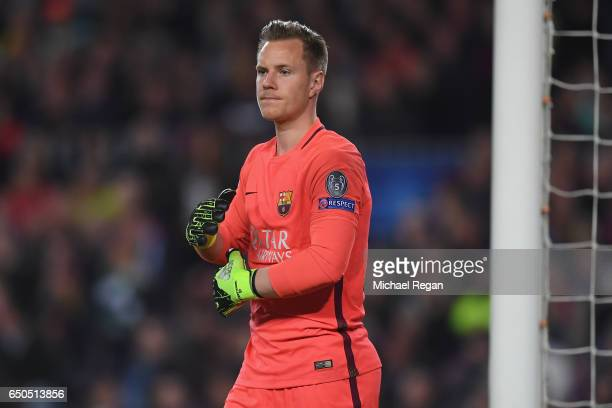 Marc-Andre Ter Stegen of Barcelona looks on during the UEFA Champions League Round of 16 second leg match between FC Barcelona and Paris...