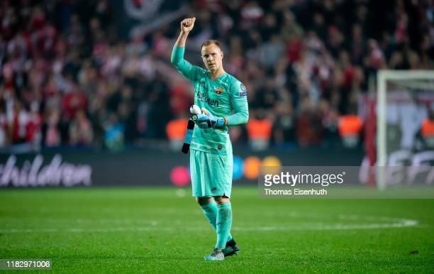 Marc-Andre ter Stegen of Barcelona reacts after the UEFA Champions League group F match between Slavia Praha and FC Barcelona at Sinobo Stadium on...