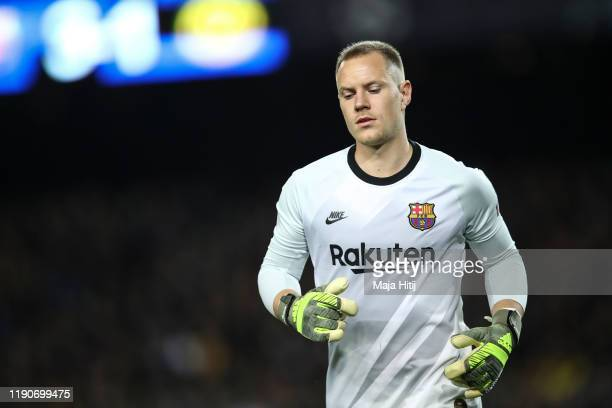 Marc-Andre ter Stegen of Barcelona reacts during the UEFA Champions League group F match between FC Barcelona and Borussia Dortmund at Camp Nou on...