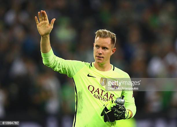 MarcAndre ter Stegen of Barcelona waves to the fans after the UEFA Champions League group C match between VfL Borussia Moenchengladbach and FC...