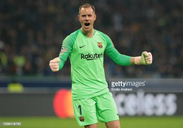 MarcAndre ter Stegen of FC Barcelona celebrates after his teammate Malcom scored during the Group B match of the UEFA Champions League between FC...