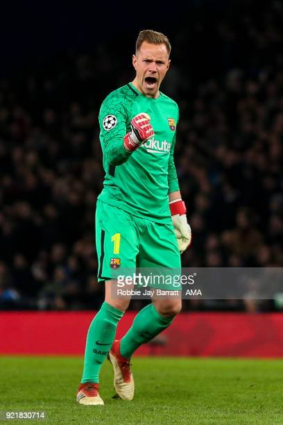 MarcAndre ter Stegen of FC Barcelona celebrates during the UEFA Champions League Round of 16 First Leg match between Chelsea FC and FC Barcelona at...