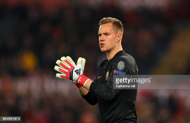 MarcAndre Ter Stegen of FC Barcelona during the UEFA Champions League Quarter Final Leg Two between AS Roma and FC Barcelona at Stadio Olimpico on...