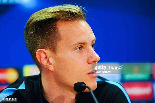 MarcAndre Ter Stegen of FC Barcelona faces the media during a press conference ahead of their UEFA Champions Leage round of 16 second leg match...