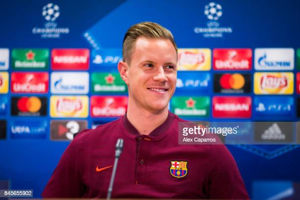 MarcAndre Ter Stegen of FC Barcelona faces the media during a press conference on the eve of their UEFA Champions League Group D match against...