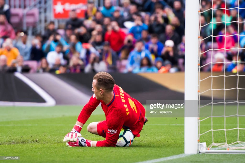 Marc-Andre Ter Stegen of FC Barcelona fails to stop the penalty kick taken by Daniel Parejo of Valencia CF (not in picture) during the La Liga match between Barcelona and Valencia at Camp Nou on April 14, 2018 in Barcelona, Spain.