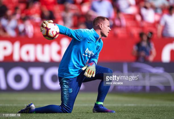 MarcAndre ter Stegen of FC Barcelona in action during the warm up prior to the La Liga match between Sevilla FC and FC Barcelona at Estadio Ramon...