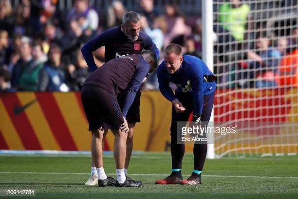 Marc-Andre ter Stegen of FC Barcelona is injured during the warm up prior to the La Liga match between FC Barcelona and Getafe CF at Camp Nou on...