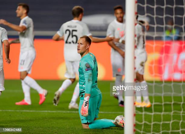 Marc-Andre ter Stegen of FC Barcelona looks dejected after conceding during the UEFA Champions League Quarter Final match between Barcelona and...