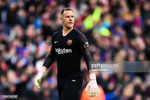 MarcAndre ter Stegen of FC Barcelona looks on during the La Liga match between FC Barcelona and Real Madrid CF at Camp Nou on October 28 2018 in...