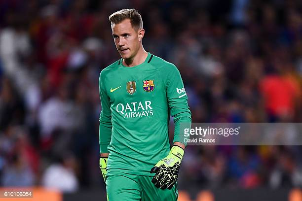 MarcAndre ter Stegen of FC Barcelona looks on during the La Liga match between FC Barcelona and Club Atletico de Madrid at the Camp Nou stadium on...