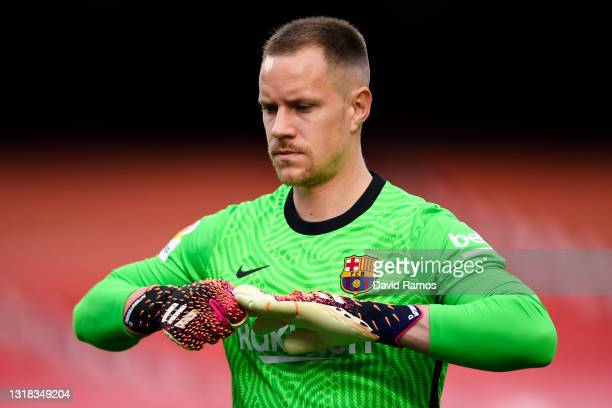 Marc-Andre ter Stegen of FC Barcelona looks on during the La Liga Santander match between FC Barcelona and RC Celta at Camp Nou on May 16, 2021 in...