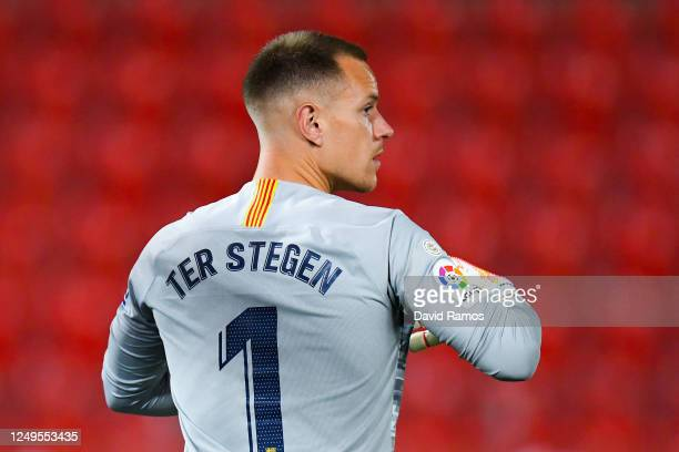 Marc-Andre ter Stegen of FC Barcelona looks on during the Liga match between RCD Mallorca and FC Barcelona at Estadio de Son Moix on June 13, 2020 in...