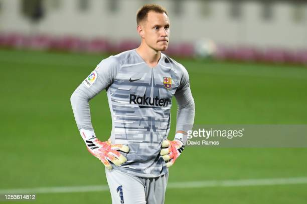 Marc-Andre ter Stegen of FC Barcelona looks on during the Liga match between FC Barcelona and Club Atletico de Madrid at Camp Nou on June 30, 2020 in...
