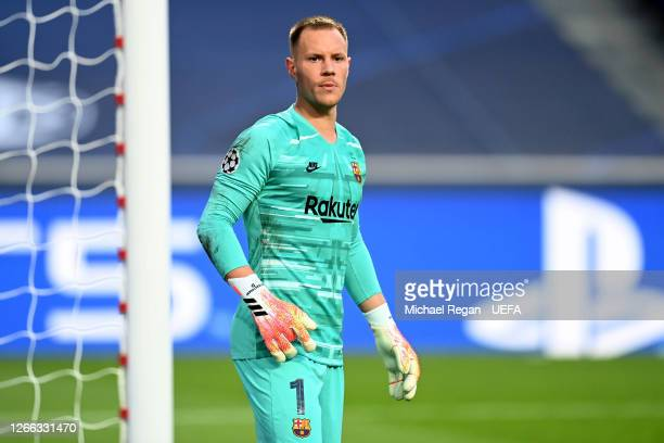 Marc-Andre ter Stegen of FC Barcelona looks on during the UEFA Champions League Quarter Final match between Barcelona and Bayern Munich at Estadio do...