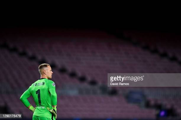 Marc-Andre ter Stegen of FC Barcelona looks on during the UEFA Champions League Group G stage match between FC Barcelona and Juventus at Camp Nou on...