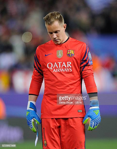 MarcAndre Ter Stegen of FC Barcelona reacts after his team lost 20 to Club Atletico de Madrid during the UEFA Champions League Quarter Final Second...