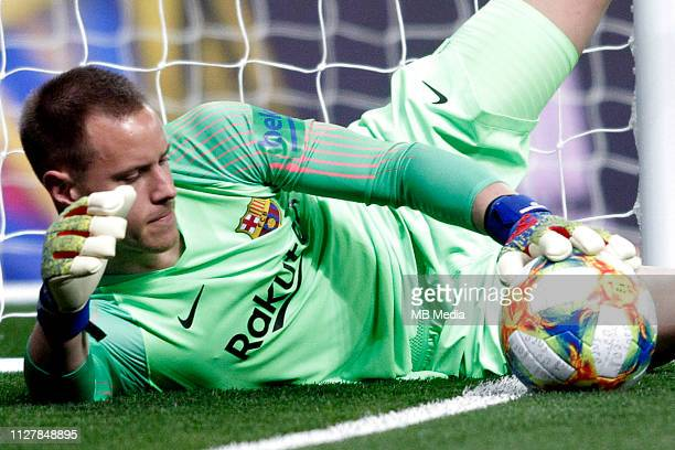 MarcAndre Ter Stegen of FC Barcelona saves a ball in the goal line during the Copa del Semi Final match second leg between Real Madrid and Barcelona...