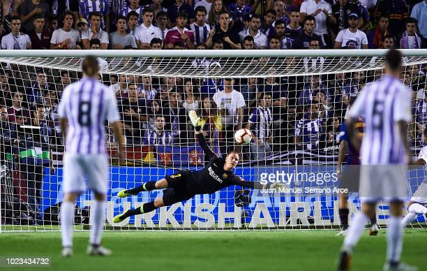 MarcAndre ter Stegen of FC Barcelona saves a possible goal during the La Liga match between Real Valladolid CF and FC Barcelona at Jose Zorrilla on...