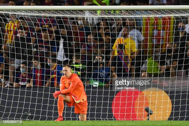 Marc-Andre ter Stegen of FC Barcelona shows his dejection during the UEFA Champions League group E match between FC Barcelona and Bayern München at...