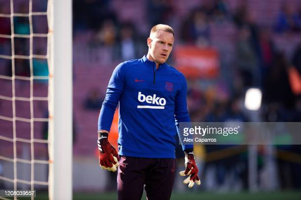 Marc-Andre Ter Stegen of FC Barcelona warms up prior to the La Liga match between FC Barcelona and SD Eibar SAD at Camp Nou on February 22, 2020 in...