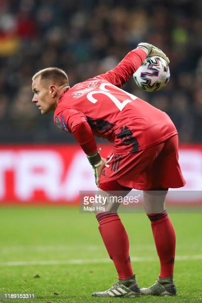 Marc-Andre ter Stegen of Germany holds the ball during the UEFA Euro 2020 Qualifier between Germany and Northern Ireland at Commerzbank Arena on...