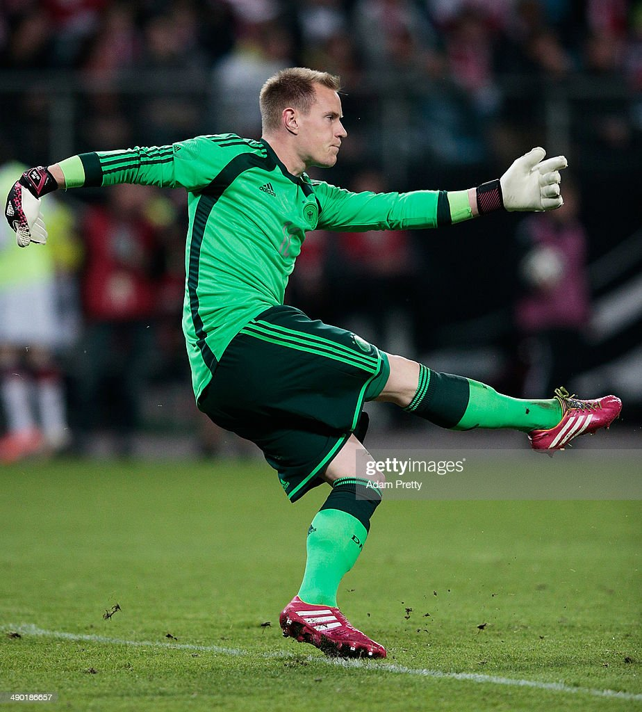 Marc-Andre Ter Stegen of Germany kicks the ball during the International Friendly match between Germany and Poland at Imtech Arena on May 13, 2014 in Hamburg, Germany.
